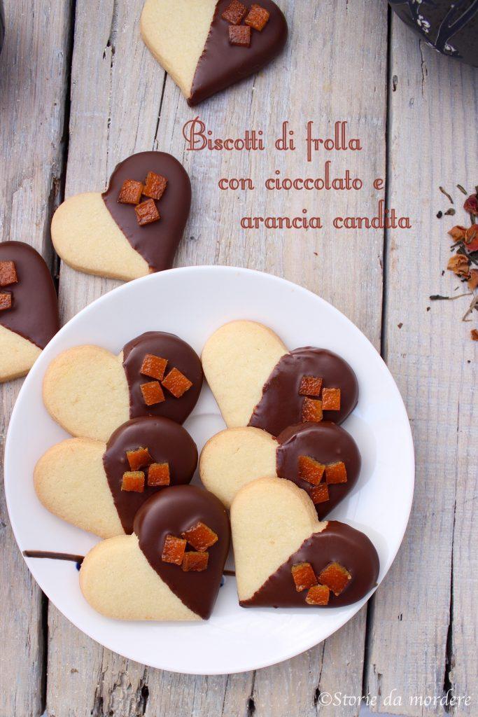 biscotti di frolla con cioccolato e scorzette arancia candita