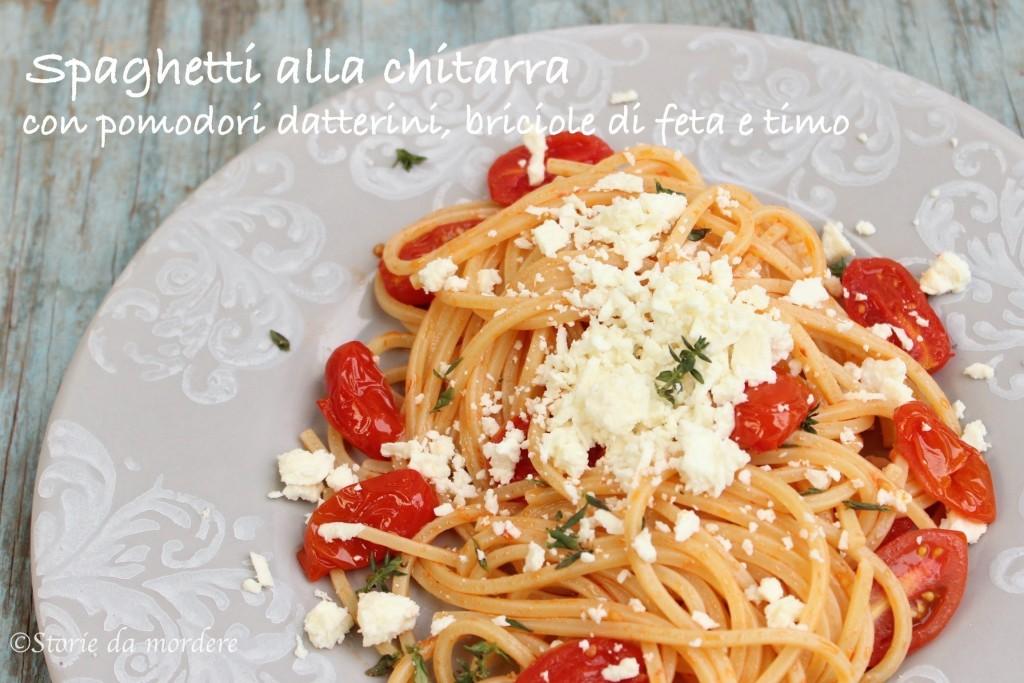 spaghetti chitarra pomodori feta timo