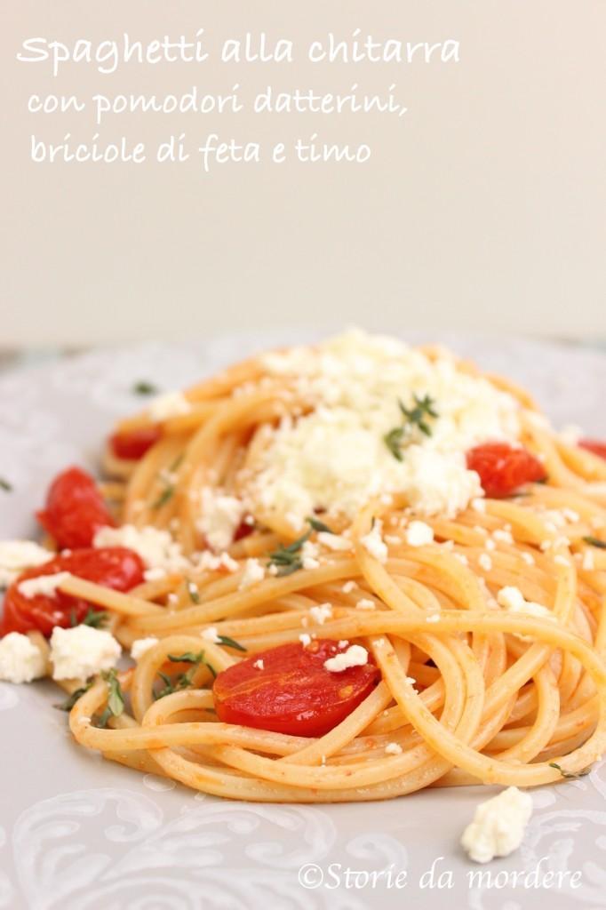 spaghetti chitarra pomodori feta timo2