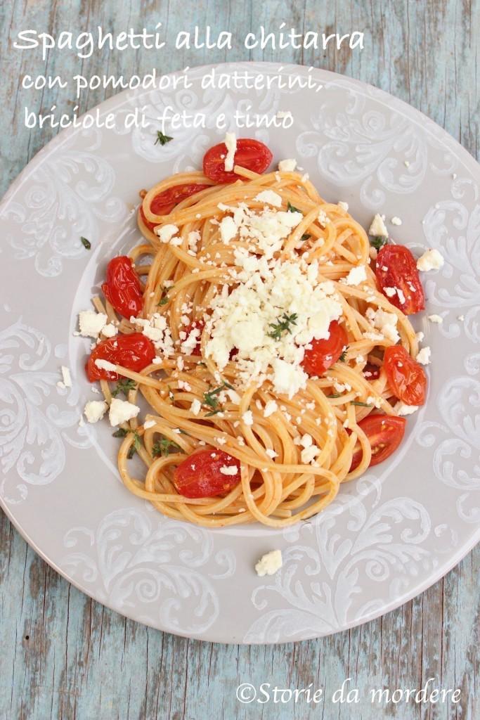 spaghetti chitarra pomodori feta timo3